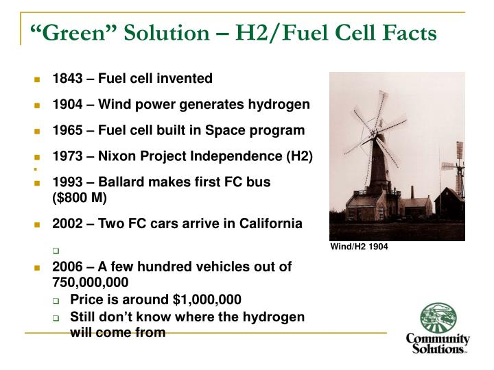 """Green"" Solution – H2/Fuel Cell Facts"