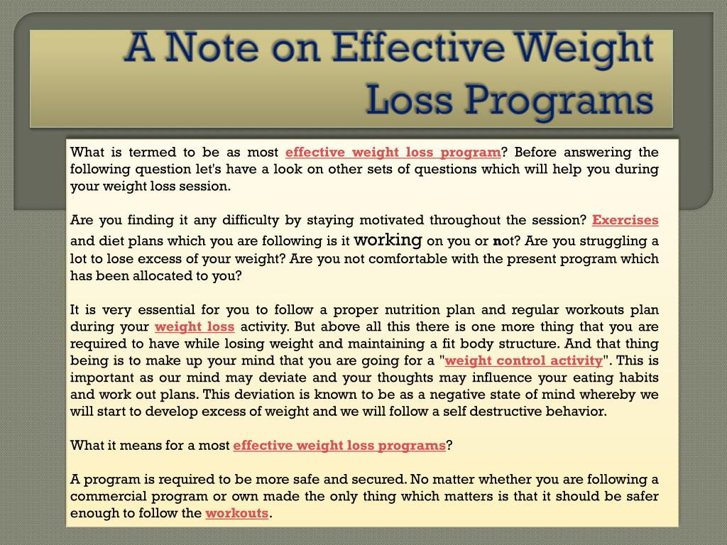 a note on effective weight loss programs l.
