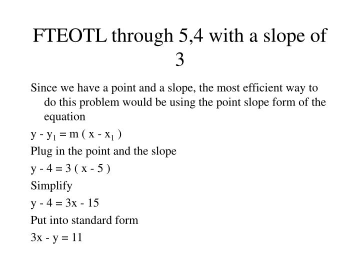 Ppt Find The Equation Of The Line Fteotl In Standard Form