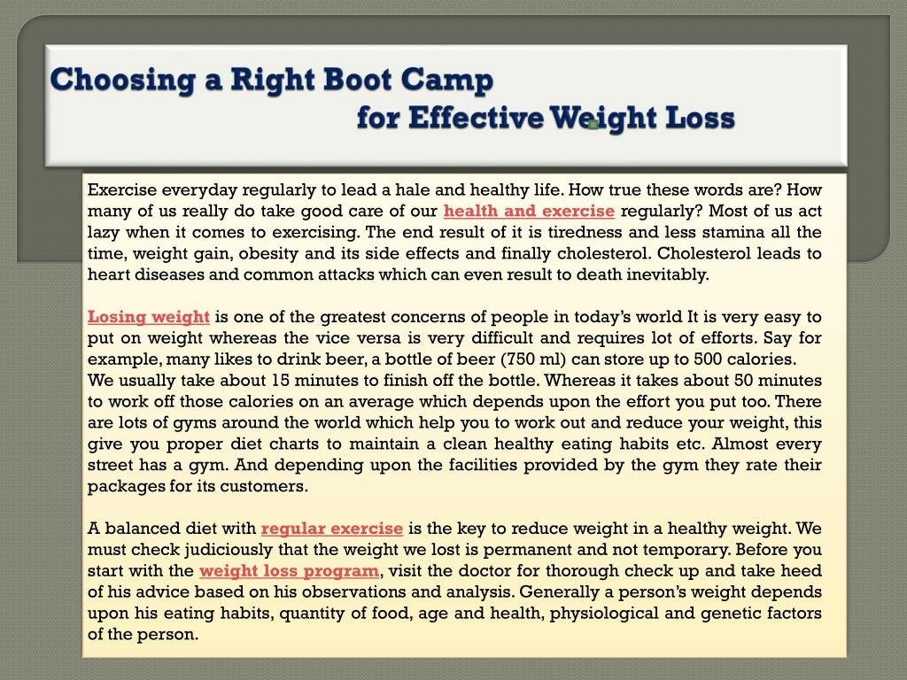 choosing a right boot camp for effective weight loss l.