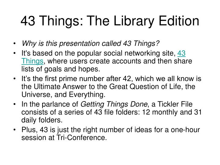 43 things the library edition n.