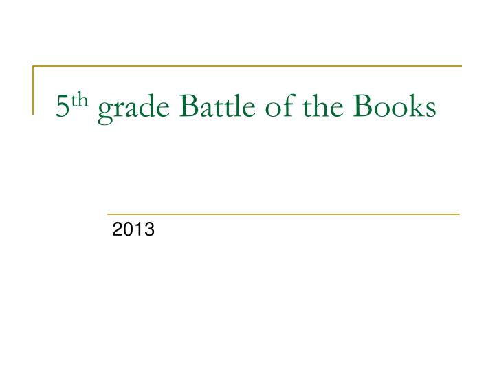 5 th grade battle of the books n.