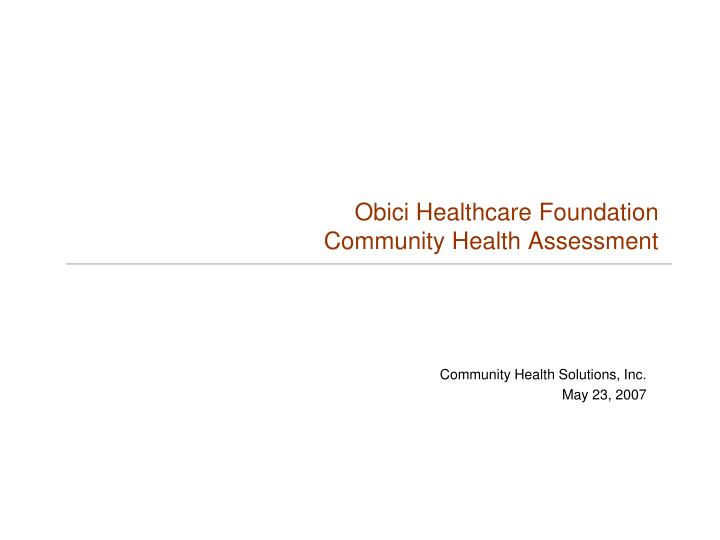 obici healthcare foundation community health assessment n.