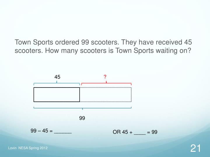 Town Sports ordered 99 scooters. They have received 45 scooters. How many scooters is Town Sports waiting on?