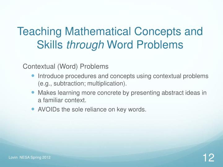 Teaching Mathematical Concepts and Skills