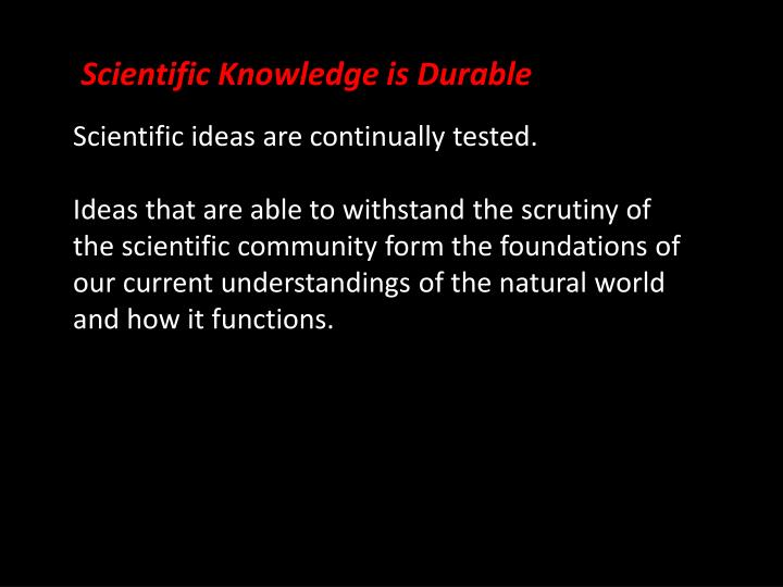 Scientific Knowledge is Durable