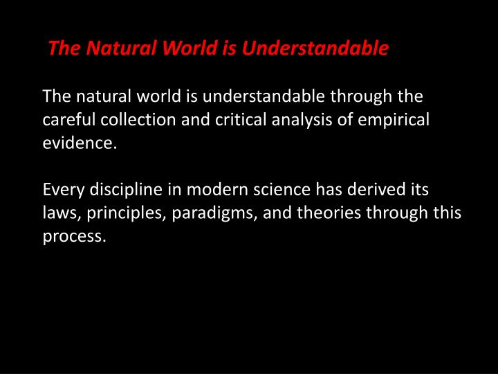 The Natural World is Understandable