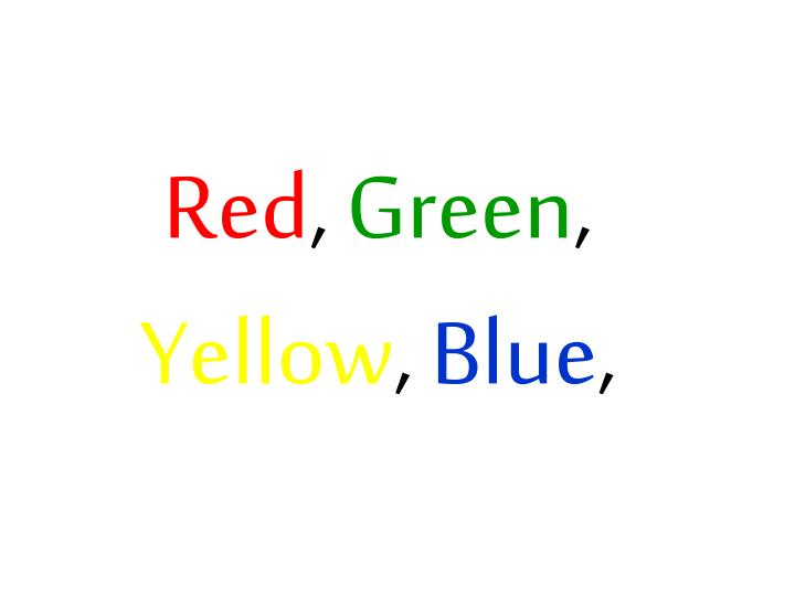 Red green yellow blue
