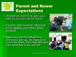 parent and rower expectations