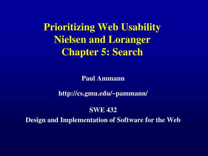 prioritizing web usability nielsen and loranger chapter 5 search n.