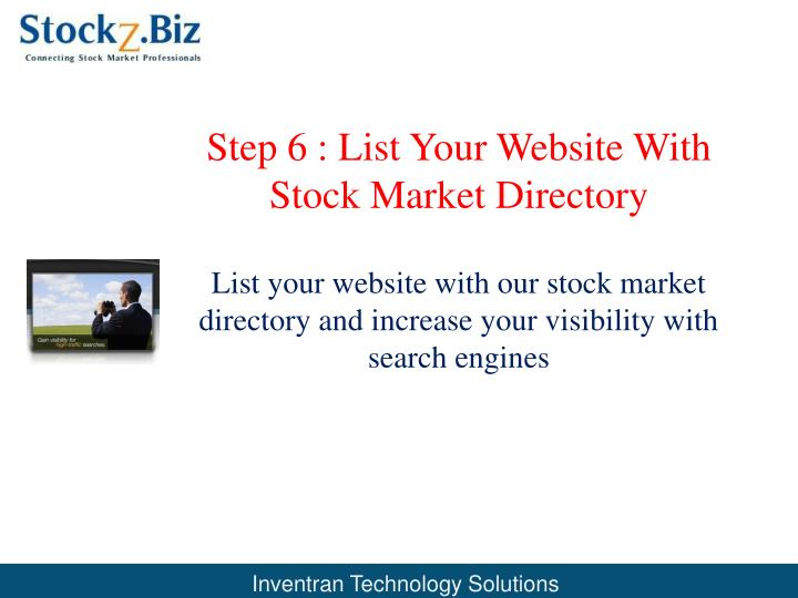 Step 6 : List Your Website With  Stock Market Directory