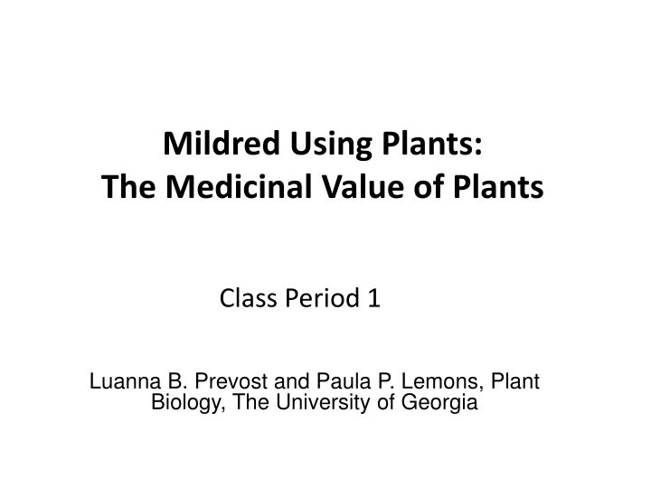 mildred using plants the medicinal value of plants n.