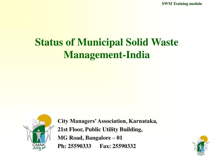 status of municipal solid waste management india n.