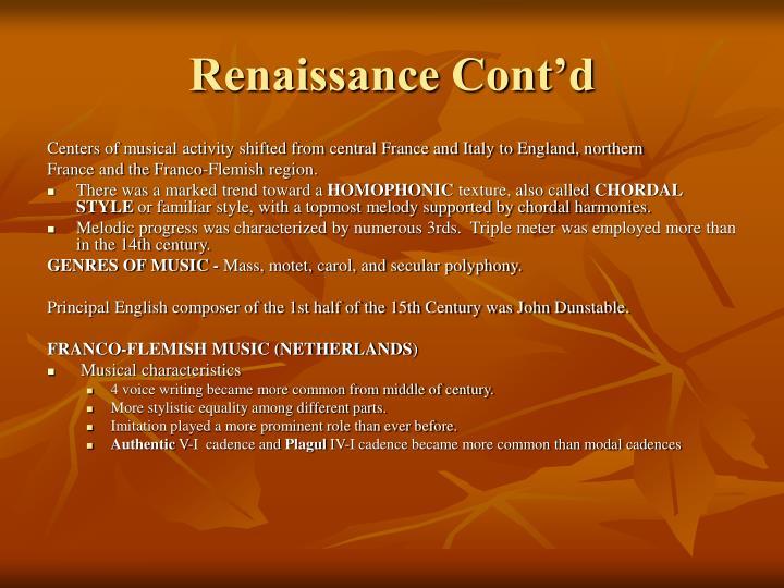 Renaissance Cont'd
