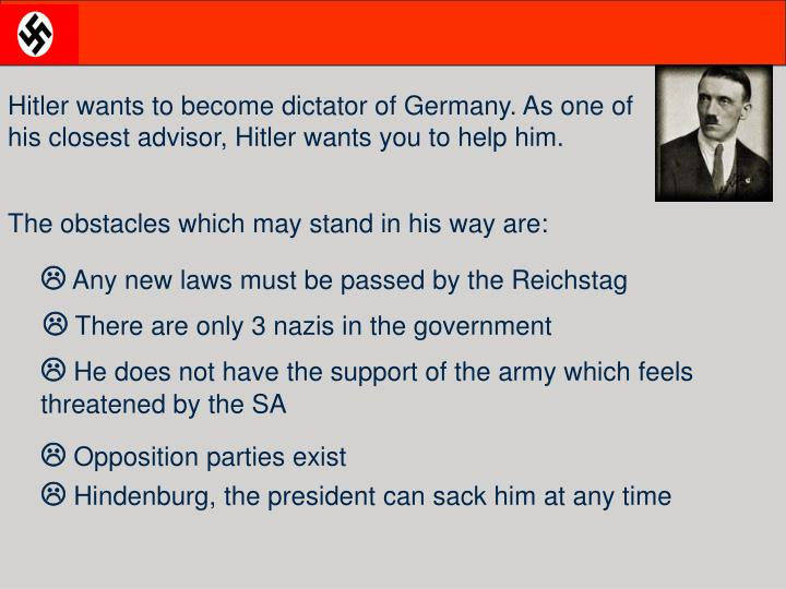 Hitler wants to become dictator of Germany. As one of his closest advisor, Hitler wants you to help ...