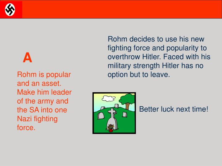 Rohm decides to use his new fighting force and popularity to overthrow Hitler. Faced with his military strength Hitler has no option but to leave.