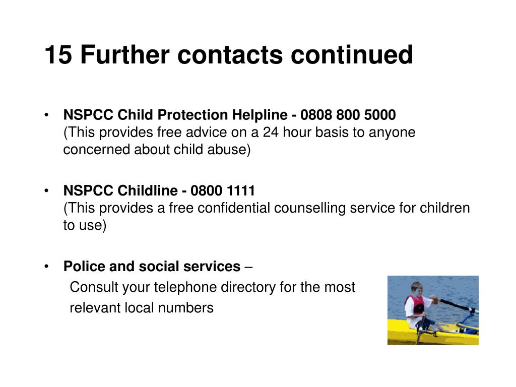 15 Further contacts continued