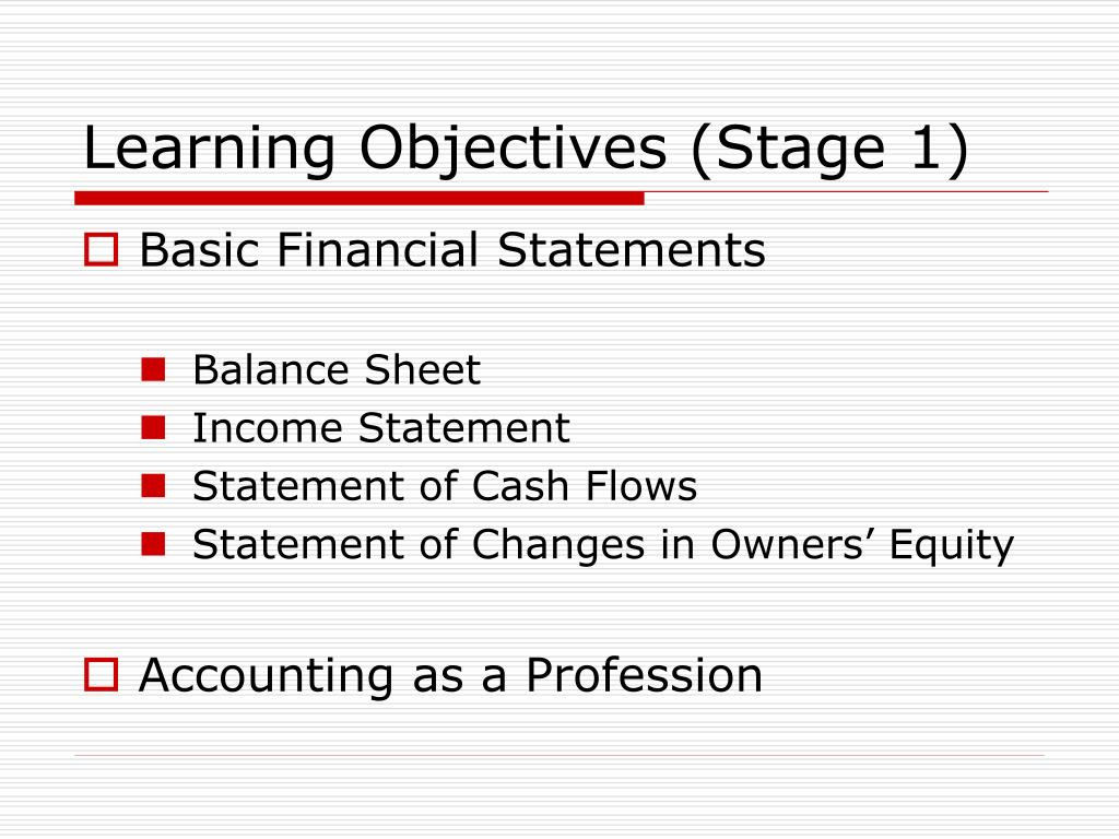 Learning Objectives (Stage 1)