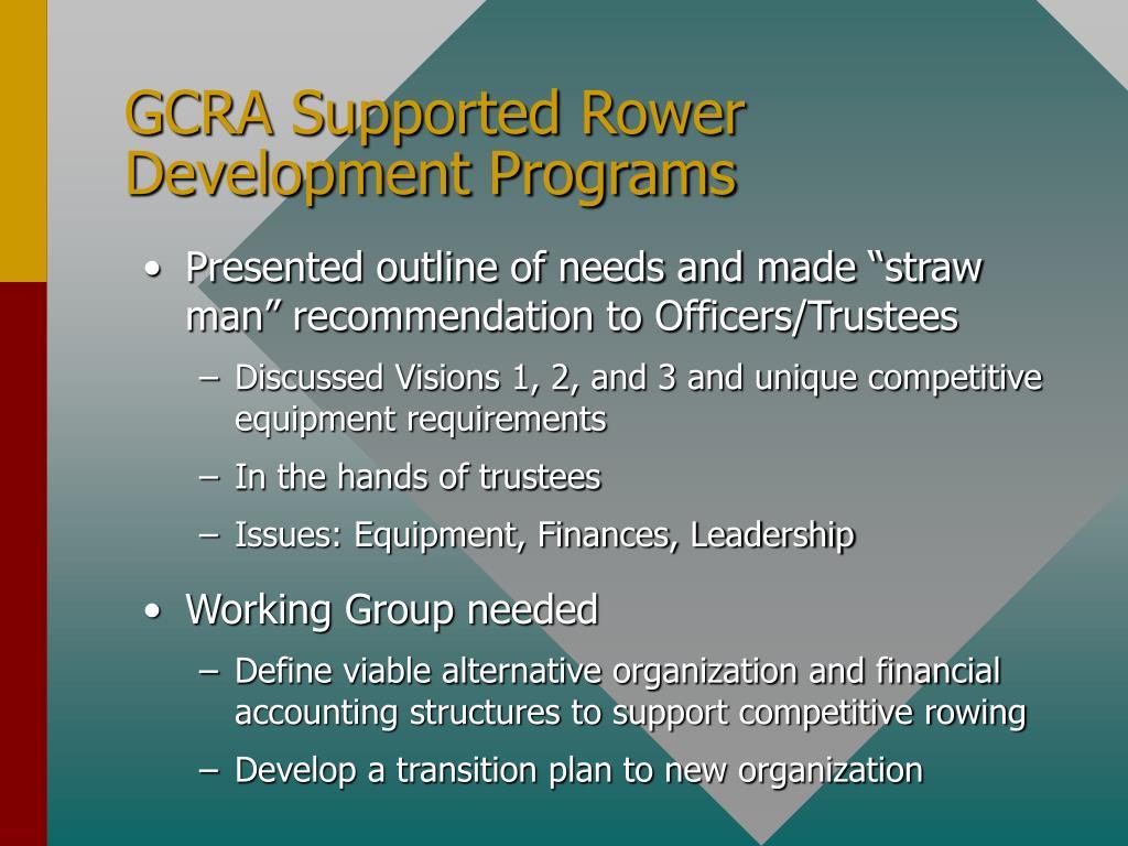 GCRA Supported Rower Development Programs