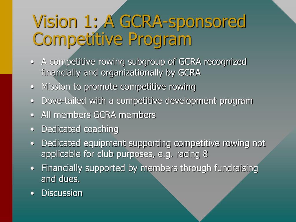 Vision 1: A GCRA-sponsored Competitive Program