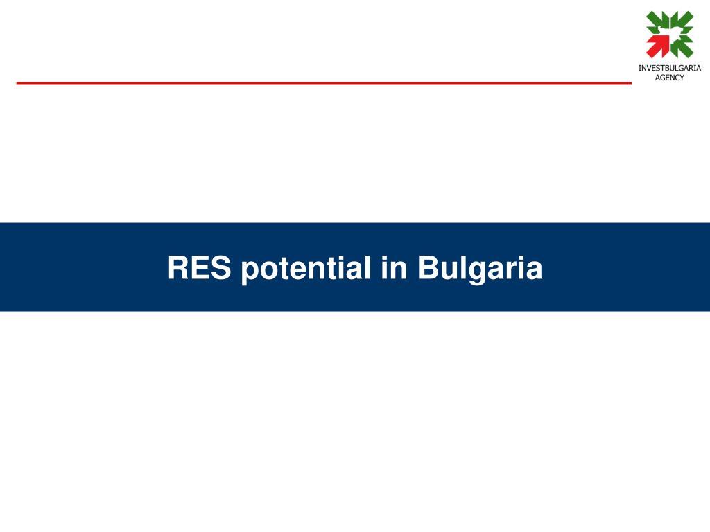 RES potential in Bulgaria