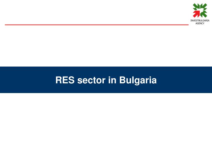 RES sector in Bulgaria