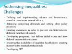 addressing inequalities challenges