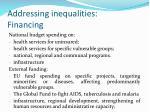 addressing inequalities financing