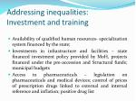addressing inequalities investment and training