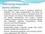 addressing inequalities service delivery