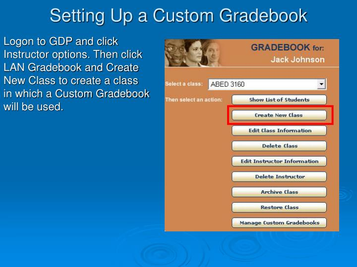 setting up a custom gradebook n.