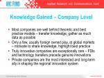 knowledge gained company level