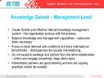 knowledge gained management level