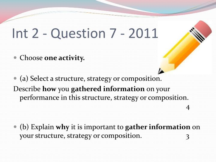 Int 2 question 7 2011