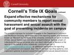 cornell s title ix goals continued