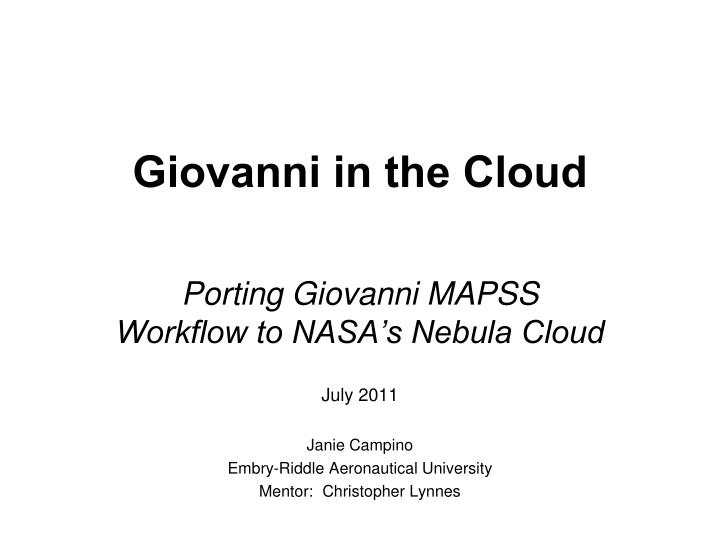 giovanni in the cloud n.