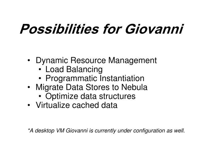 Possibilities for Giovanni