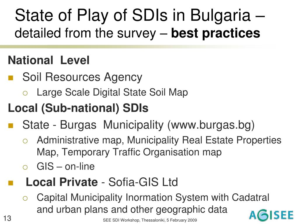 State of Play of SDIs in Bulgaria –