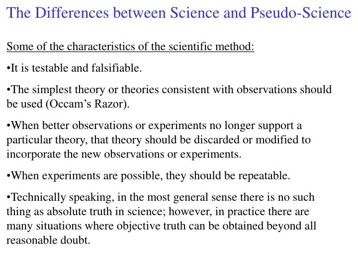 the differences between science and pseudo science n.