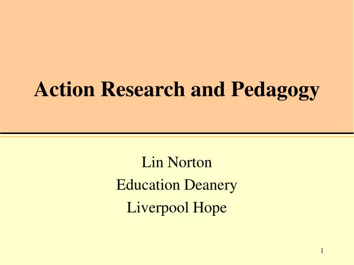 action research and pedagogy n.