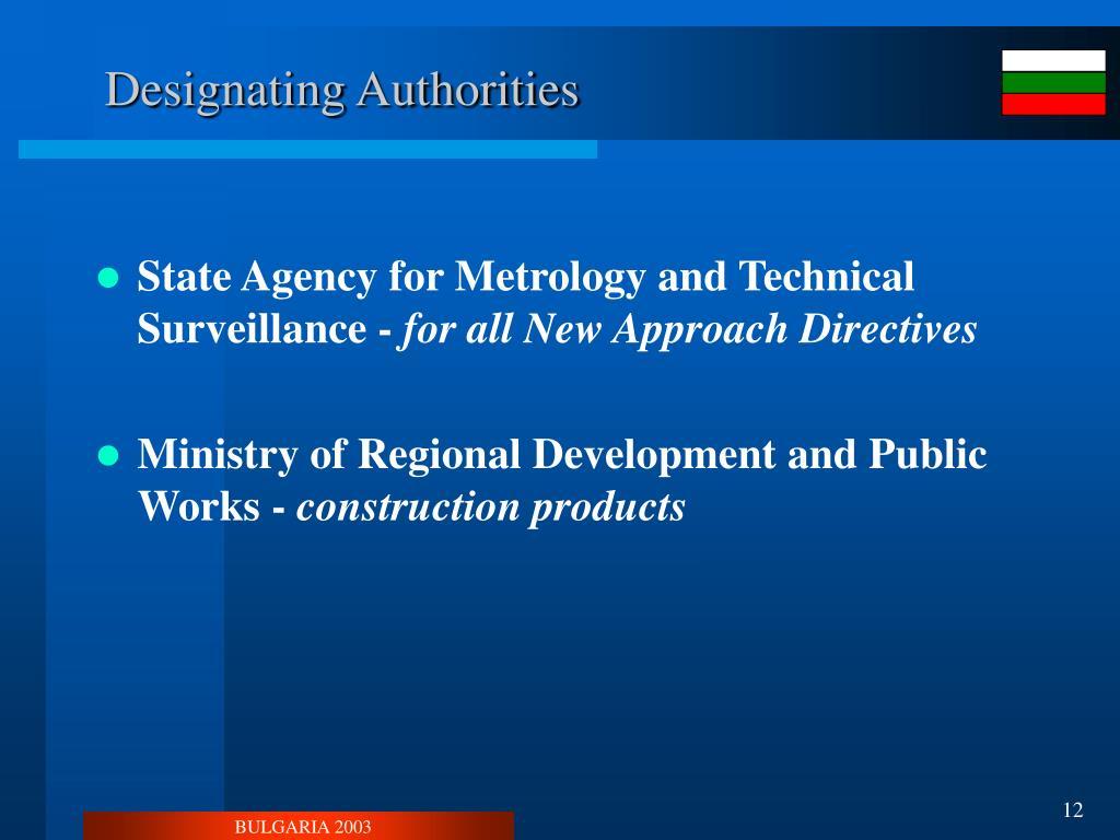 Designating Authorities