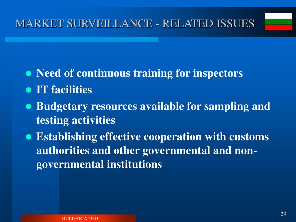 MARKET SURVEILLANCE - RELATED ISSUES
