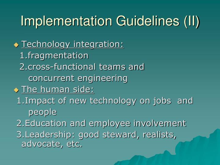 Implementation Guidelines (II)