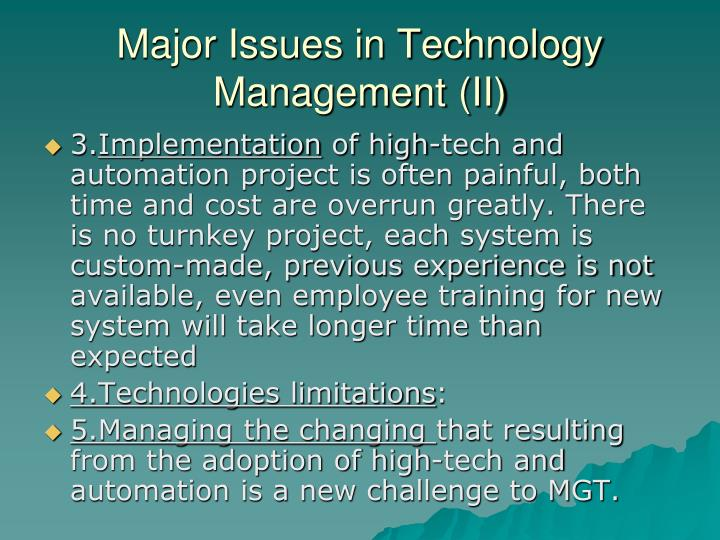 Major Issues in Technology Management (II)