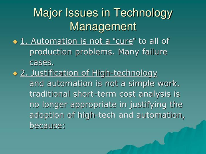 Major Issues in Technology Management