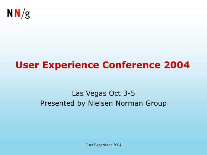 user experience conference 2004 n.