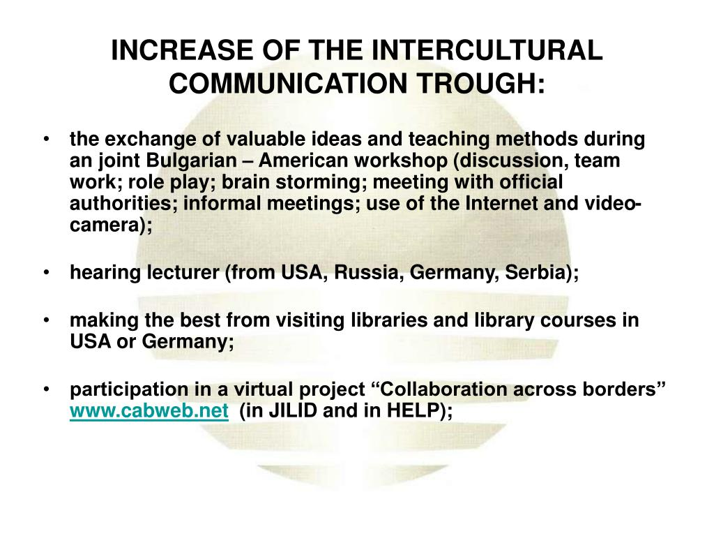 INCREASE OF THE INTERCULTURAL COMMUNICATION TROUGH: