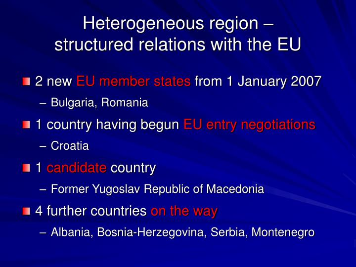 Heterogeneous region structured relations with the eu