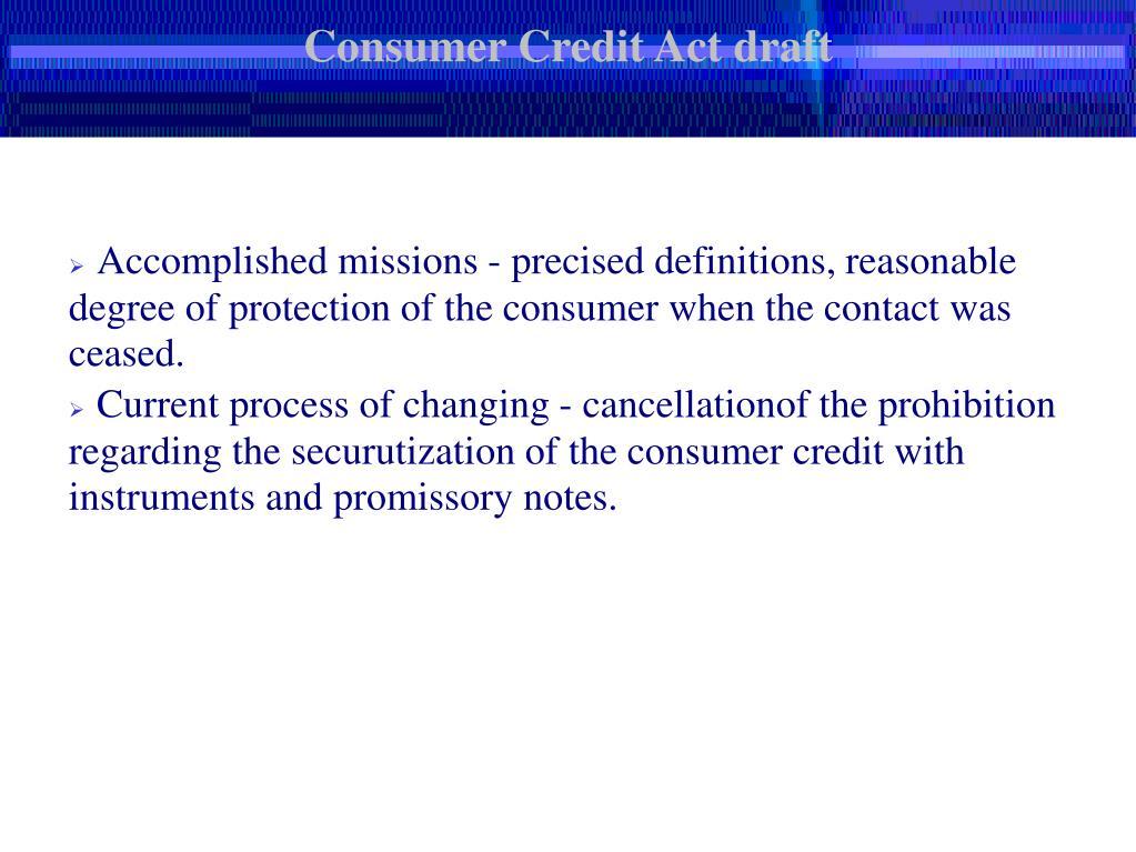 Consumer Credit Act draft