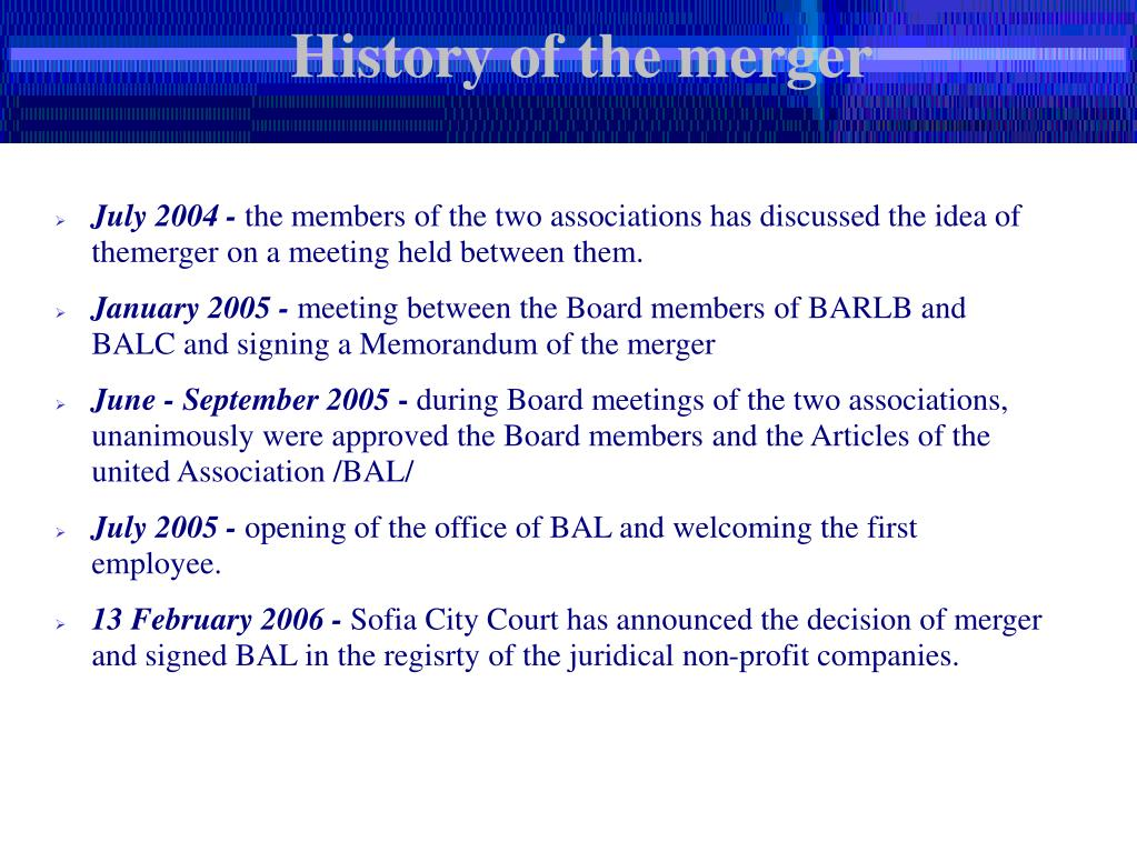 History of the merger